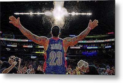 Lebron James Chalk Toss Basketball Art Landscape Painting Metal Print by Andres Ramos