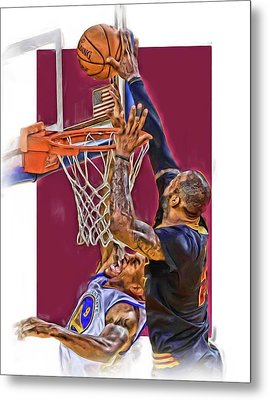 Lebron James Cleveland Cavaliers Oil Art Metal Print by Joe Hamilton