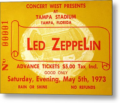 Led Zeppelin Ticket Metal Print by David Lee Thompson