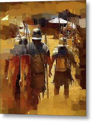 Legionnaires Marching To Camp Metal Print by Clarence Alford
