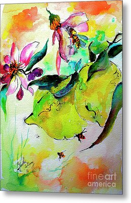Lemon Garden Blossoms And Bees Metal Print by Ginette Callaway