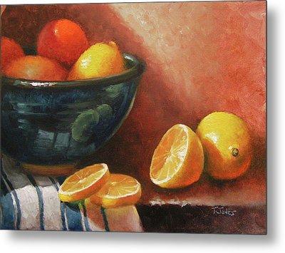 Lemons And Ceramic Bowl Metal Print by Timothy Jones