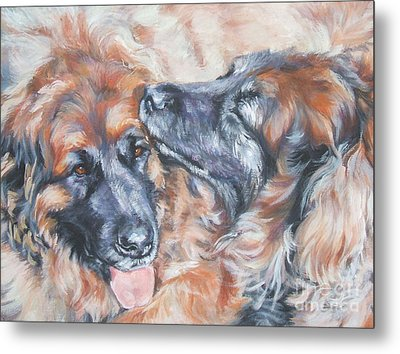 Leonberger Pair Metal Print by Lee Ann Shepard