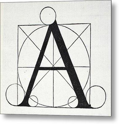 Letter A Metal Print by Leonardo Da Vinci