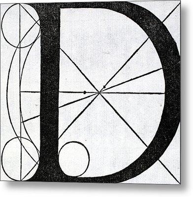 Letter D Metal Print by Leonardo Da Vinci