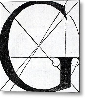 Letter G Metal Print by Leonardo Da Vinci
