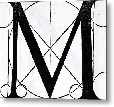 Letter M Metal Print by Leonardo Da Vinci