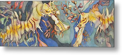 L'hippocampe Jaune Metal Print by Liduine Bekman