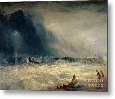 Lifeboat And Manby Apparatus Going Off To A Stranded Vessel Making Signal Of Distress Metal Print by Joseph Mallord William Turner