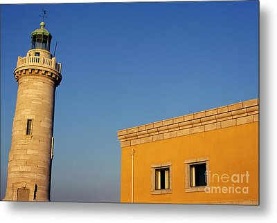 Lighthouse And Yellow Building At The Entrance Of The Port Of Marseille Metal Print by Sami Sarkis
