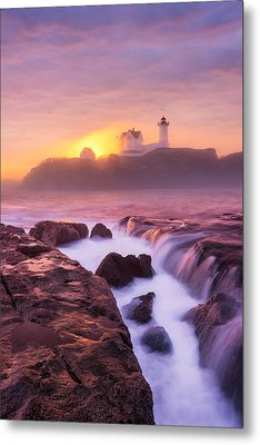 Lighthouse On Fire Metal Print by Michael Blanchette