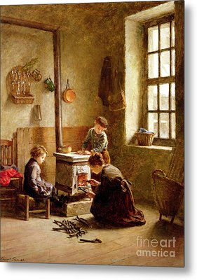Lighting The Stove Metal Print by Pierre Edouard Frere