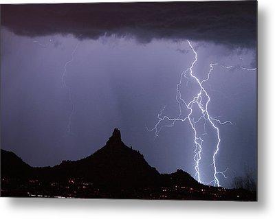 Lightnin At Pinnacle Peak Scottsdale Arizona Metal Print by James BO  Insogna