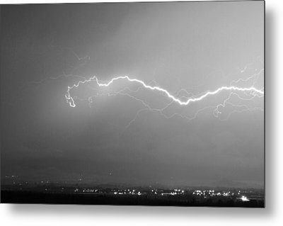 Lightning Over North Boulder Colorado  Ibm Bw Metal Print by James BO  Insogna