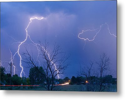 Lightning Storm On 17th Street Fine Art Print Metal Print by James BO  Insogna