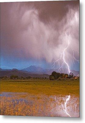 Lightning Striking Longs Peak Foothills 7c Metal Print by James BO  Insogna