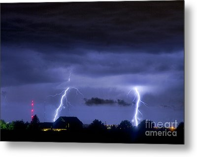 Lightning Thunderstorm July 12 2011 Two Strikes Over The City Metal Print by James BO  Insogna