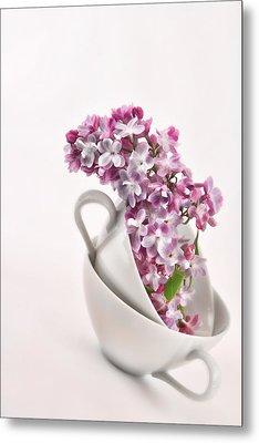Lilacs In Tea Cups Metal Print by Vicki McLead