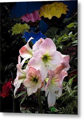 Lilies And Glass Metal Print by Stephen Mack