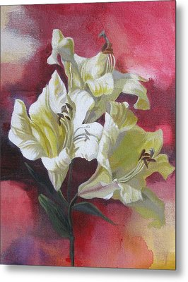 Lilies With Red Metal Print by Alfred Ng