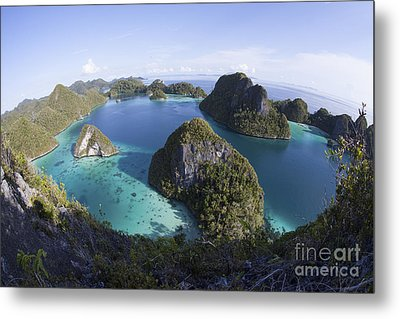 Limestone Islands Surround A Lagoon Metal Print by Ethan Daniels