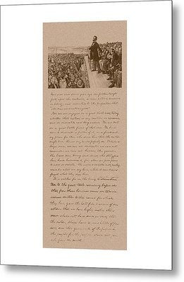 Lincoln And The Gettysburg Address Metal Print by War Is Hell Store