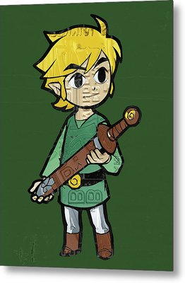 Link Legend Of Zelda Nintendo Retro Video Game Character Recycled Vintage License Plate Art Portrait Metal Print by Design Turnpike