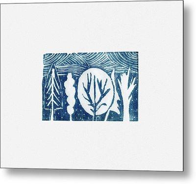 Linocut Trees Metal Print by Anastasia Bogdanova