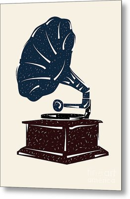 Linoleum Cut Gramophone Design Metal Print by Shawn Hempel