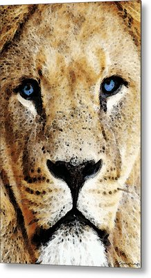 Lion Art - Blue Eyed King Metal Print by Sharon Cummings
