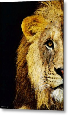 Lion Art - Face Off Metal Print by Sharon Cummings
