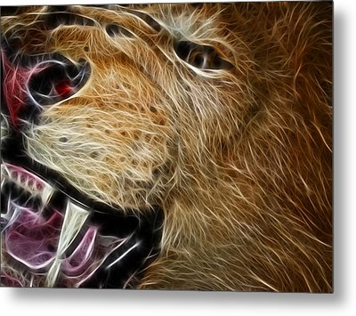Lion Fractal Metal Print by Shane Bechler