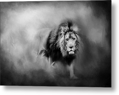 Lion - Pride Of Africa 3 - Tribute To Cecil In Black And White Metal Print by Michelle Wrighton