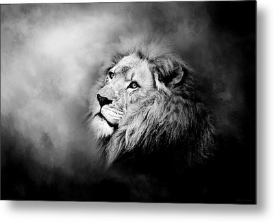 Lion - Pride Of Africa II - Tribute To Cecil In Black And White Metal Print by Michelle Wrighton