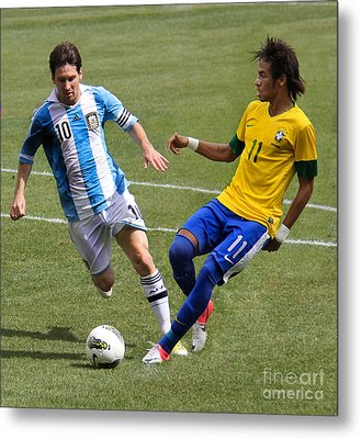 Lionel Messi And Neymar Clash Of The Titans Metlife Stadium  Metal Print by Lee Dos Santos