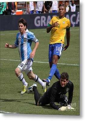 Lionel Messi Beats Rafael Cabral Metal Print by Lee Dos Santos