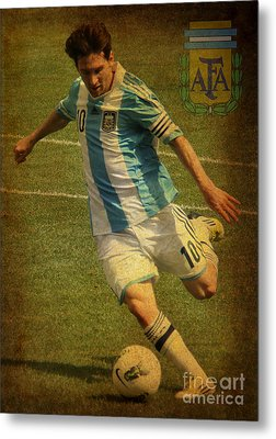 Lionel Messi Kicking Iv Metal Print by Lee Dos Santos