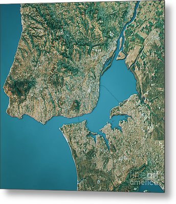 Lisbon Topographic Map Natural Color Top View Metal Print by Frank Ramspott