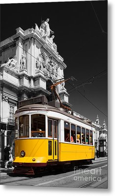 Lisbon's Typical Yellow Tram In Commerce Square Metal Print by Jose Elias - Sofia Pereira