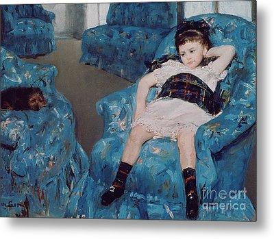 Little Girl In A Blue Armchair Metal Print by Mary Stevenson Cassatt