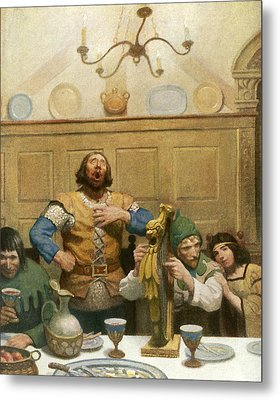 Little John Sings At The Banquet Metal Print by Newell Convers Wyeth