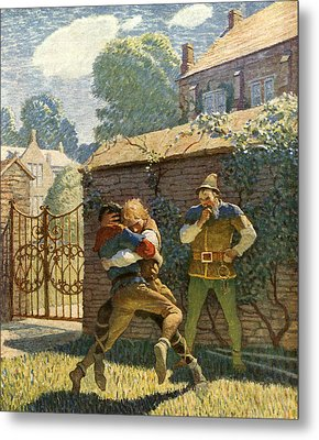 Little John Wrestles At Gamewell Metal Print by Newell Convers Wyeth