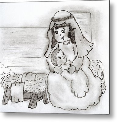 Little Mary And Baby Jesus Metal Print by Sonya Chalmers