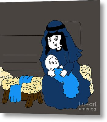 Little Mary And Jesus In Blues Metal Print by Sonya Chalmers
