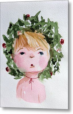 Little Miss Merry Metal Print by Mindy Newman