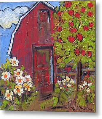 Little Red Barn Metal Print by Blenda Studio