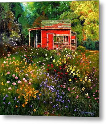 Little Red Flower Shed Metal Print by John Lautermilch