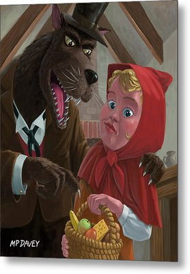 Little Red Riding Hood With Nasty Wolf Metal Print by Martin Davey
