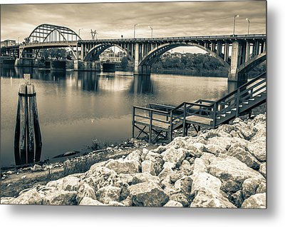 Little Rock Arkansas Broadway Bridge Black And White -  Sepia Metal Print by Gregory Ballos