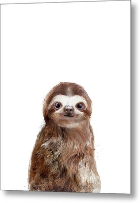 Little Sloth Metal Print by Amy Hamilton